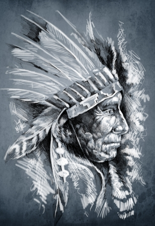 native american art: Sketch of tattoo art, native american indian head, chief, dirty background Stock Photo