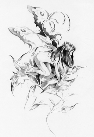 Sketch of tattoo art, fairy, fantasy illustration illustration