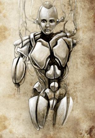 Sketch of tattoo art, android, robot, fantasy illustration illustration