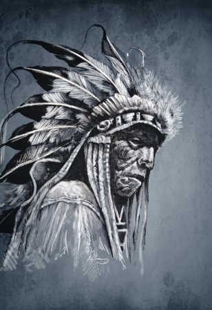 dead animal: Native american indian head, chief, vintage style Stock Photo