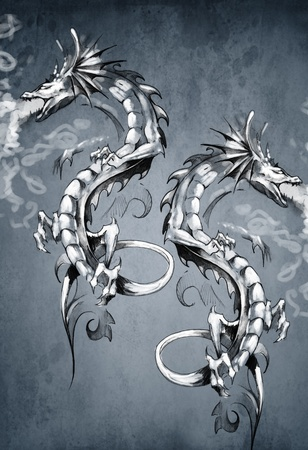 Two fantasy dragons, tattoo art photo