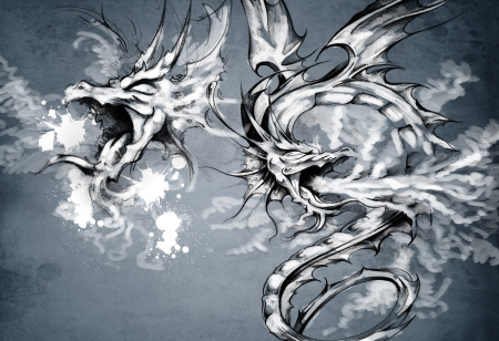 Deux dragons, illustration fantastique photo