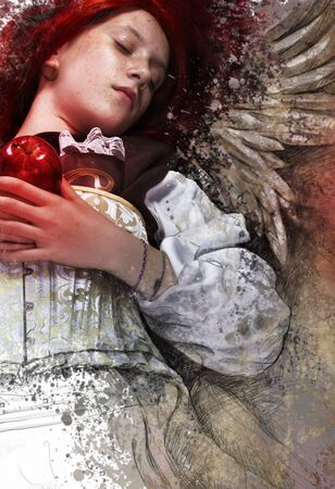 Teen with apple, fantasy and romantic concept Stock Photo - 16616165