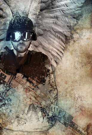 Dark angel with gun, fantasy concept photo