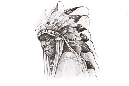 guerriero indiano: Disegno del tatuaggio di Native American Indian guerriero, fatto a mano