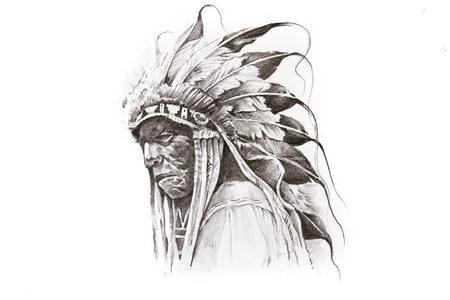 Tattoo sketch of Native American Indian warrior, hand made Standard-Bild