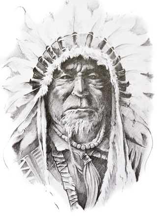 indio americano: Bosquejo del tatuaje de nativos americanos jefe indio mano, hecho Foto de archivo