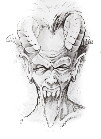 bald girl: Tattoo sketch of devil head, hand made
