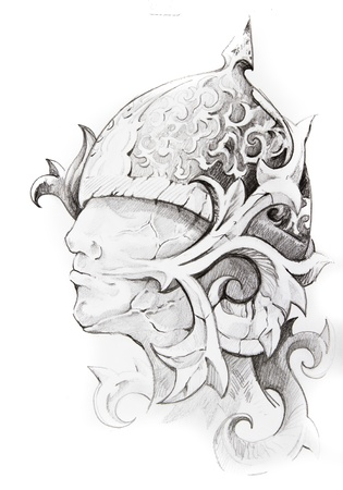 shogun: Tattoo sketch of warrior head, hand made