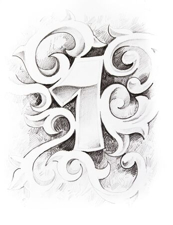 numbers abstract: Tattoo sketch of one number, hand made