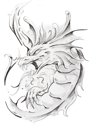 Tattoo sketch of medieval dragon, hand made photo