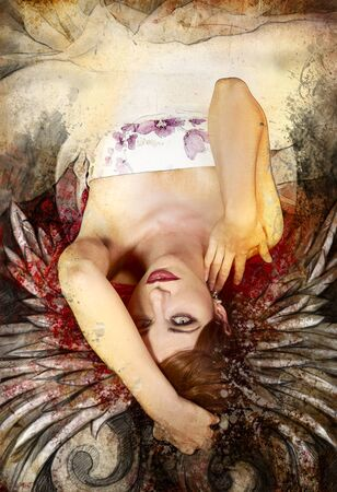 Mixed media, beautiful woman with red hair with wings, art illustration illustration