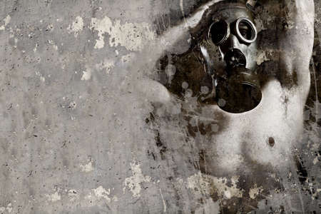 Artistic illustration over rusty wall, man with gas mask Stock Illustration - 16958921