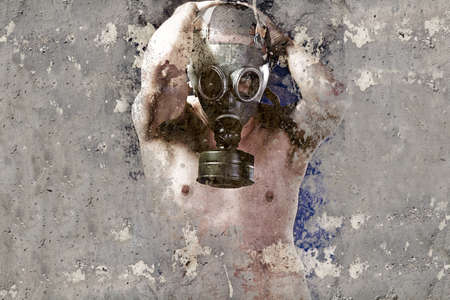 deface: Artistic illustration over rusty wall, man with gas mask