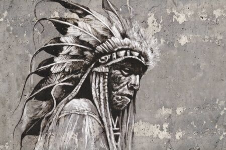 Portrait of native american indian head over textured wall photo