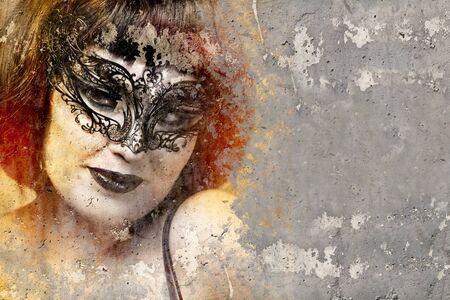 Portrait of beautiful woman over dirty wall with venetian mask, street art