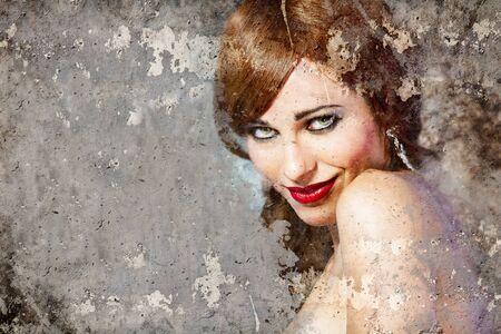Portrait of beautiful woman over dirty wall, street art Stock Photo - 16958940