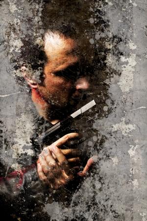 murderer: Street art, Portrait of gangster over dirty wall