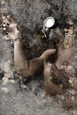 Artistic portrait with textured background, man with gas mask photo
