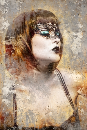 Artistic portrait with textured background, beautiful brunette with venetian mask Stock Photo - 16959236