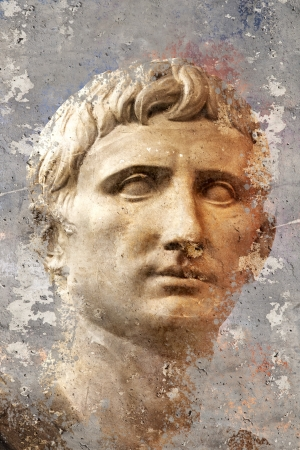 Artistic portrait with textured background, classical Greek sculpture photo