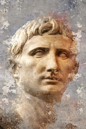 Artistic portrait with textured background, classical Greek sculpture Standard-Bild
