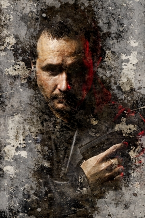 one armed: Artistic portrait with textured background, dangerous and armed robber