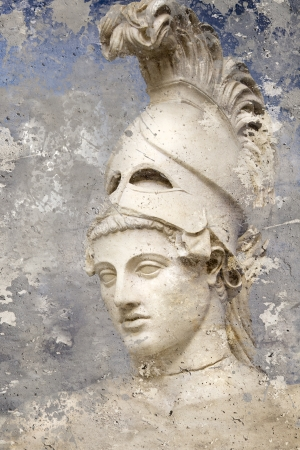 sacramental: Artistic portrait with textured background, classical Greek sculpture Stock Photo