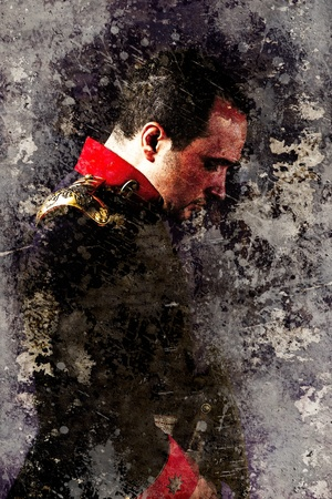 Artistic portrait of an old military uniform with textured background photo