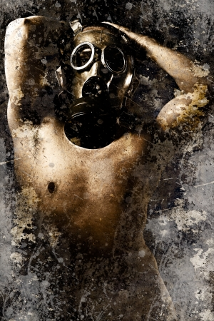 Artistic portrait of a nude man with gas mask with textured background photo