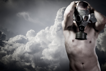 pollution concept: portrait of man in a gas mask Stock Photo - 17684237