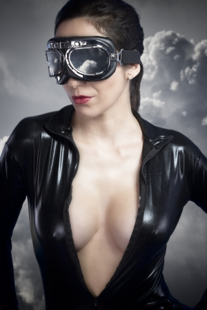 Aviator girl with black leather jacket photo