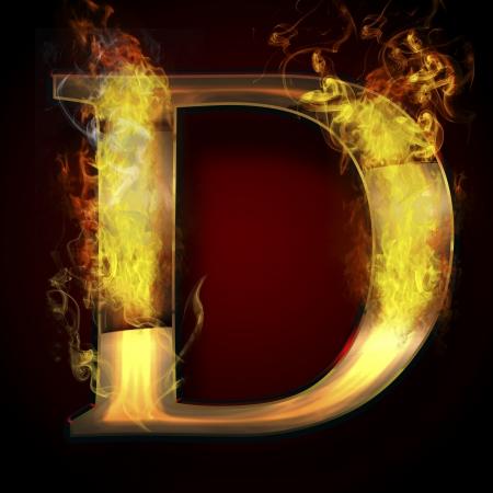 D, fire letter illustration Stock Illustration - 17687213