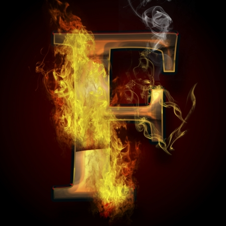 ardent: F, fire letter illustration Stock Photo