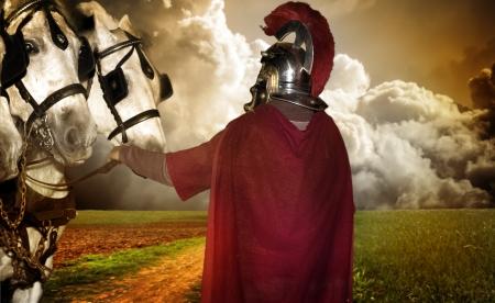 soldati romani: Ritratto di un soldato legionario con i cavalli