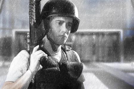 envy: Army man illustration with machine gun Stock Photo