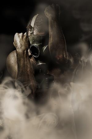 sustancias toxicas: El hombre en el hombre retrato en máscara de gas grunge retro