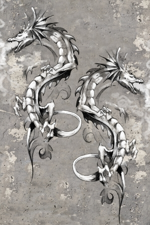 Tattoo art illustration, dragons over wall illustration