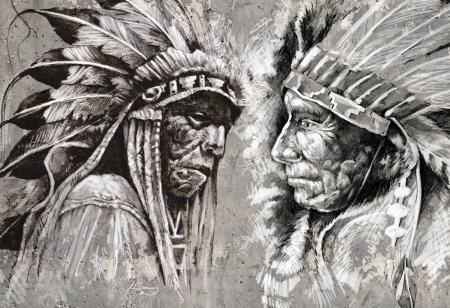 Native American Indian Kopf, Chef, Retro-Stil Standard-Bild - 17927168
