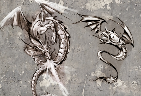 Tattoo art illustration, dragons over grey wall illustration