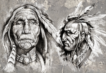 indian old man: Native american indian head, chiefs, retro style