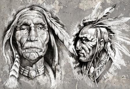 indio americano: Native American Indian jefe, jefes, estilo retro