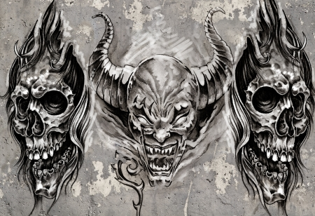 Tattoo art, 3 demons over grey background, Sketch photo