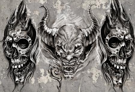 evil: Tattoo art, 3 demons over grey background, Sketch Stock Photo