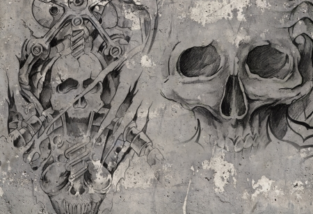 biomechanical: Tattoo art,2 biomechanical demons over grey background, Sketch Stock Photo