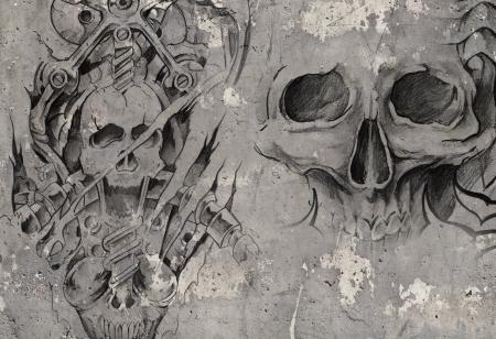 Tattoo art, 2 biomechanische demonen over grijze achtergrond, Schets Stockfoto