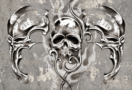 Tattoo art, 3 skulls over grey background, Sketch Stock Photo - 17927161