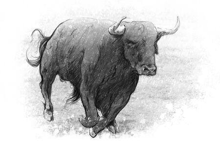bullock: Tattoo art, dangerous bull with beaked horns Stock Photo