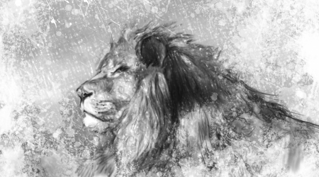 Lion tattoo illustration art, handmade drawing Standard-Bild