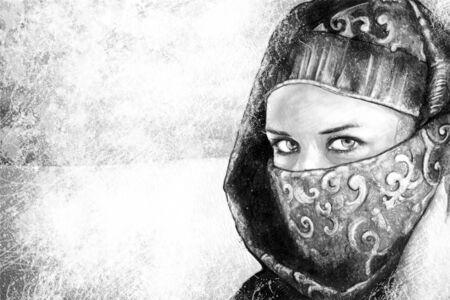 pakistan: Illustration art, woman dressed in Arab costume, desert in the background